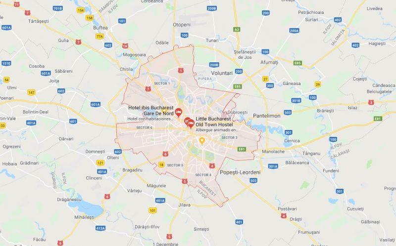 harta tour de Bucarest